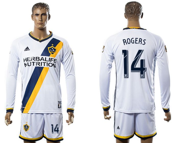Men 2017-2018 club Los Angeles Galaxy home long sleeve 14 soccer jersey
