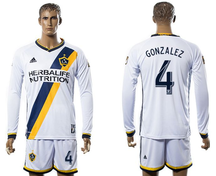 Men 2017-2018 club Los Angeles Galaxy home long sleeve 4 soccer jersey