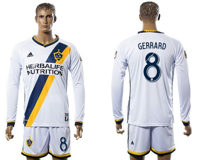 Men 2017-2018 club Los Angeles Galaxy home long sleeve 8 Gerrard soccer jersey