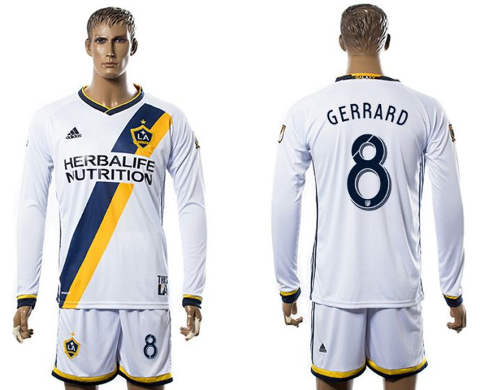 Men 2017-2018 club Los Angeles Galaxy home long sleeve 8 soccer jersey