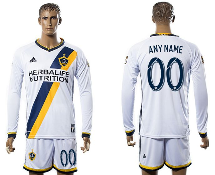 Men 2017-2018 club Los Angeles Galaxy home long sleeve customized soccer jersey