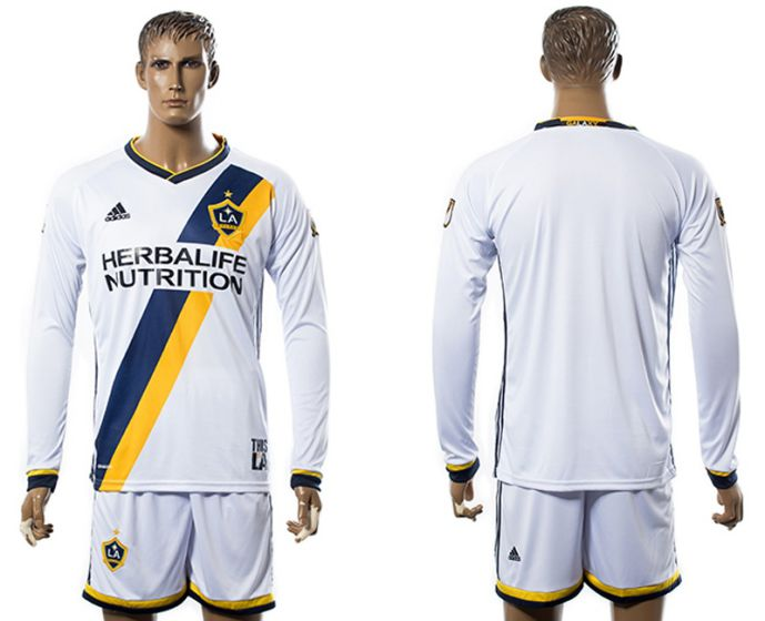 Men 2017-2018 club Los Angeles Galaxy home long sleeve soccer jersey