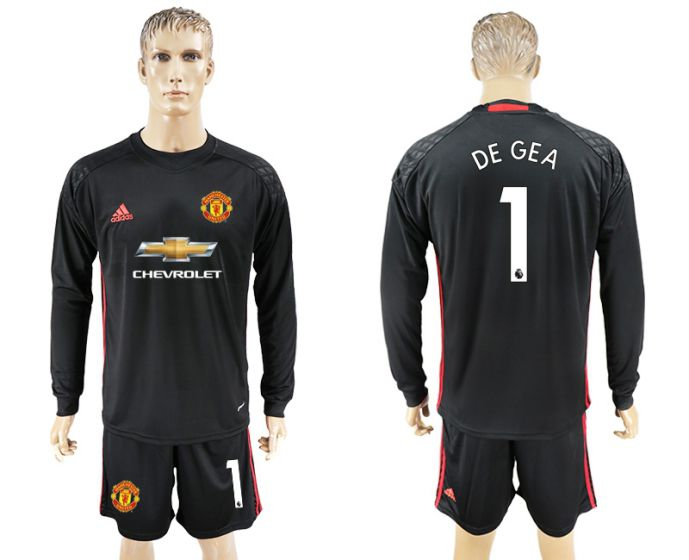 Men 2017-2018 club Manchester United black goalkeeper long sleeve 1 De Gea Soccer jersey