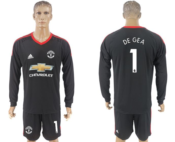 Men 2017-2018 club Manchester United black goalkeeper long sleeve 1 Soccer jersey