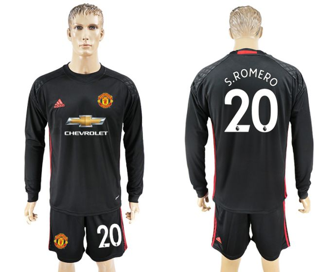 Men 2017-2018 club Manchester United black goalkeeper long sleeve 20 S Romero Soccer jersey