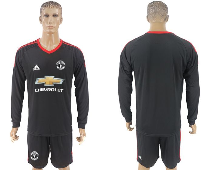 Men 2017-2018 club Manchester United black goalkeeper long sleeve Soccer jersey