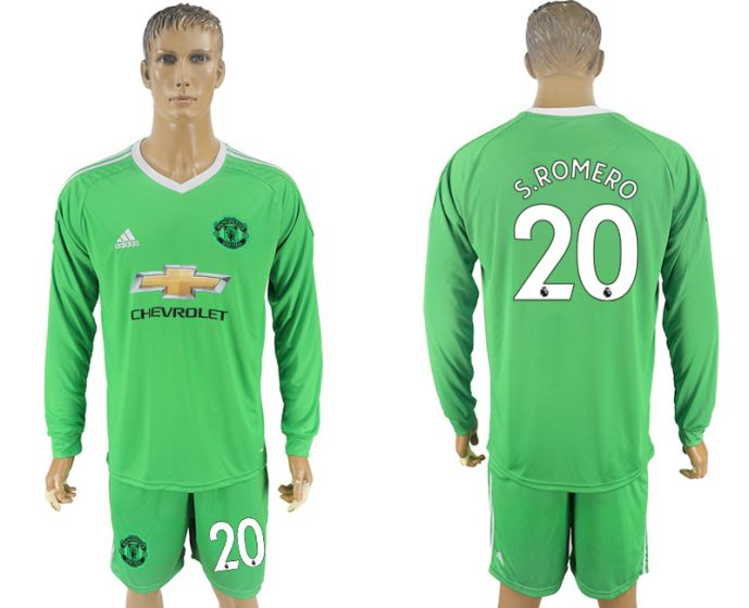 Men 2017-2018 club Manchester United green long sleeve goalkeeper 20 Soccer jersey