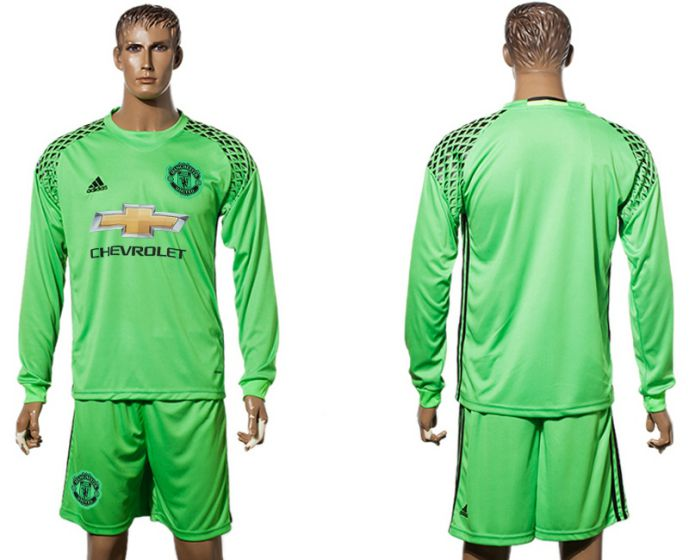 Men 2017-2018 club Manchester United green long sleeve goalkeeper blank Soccer jersey