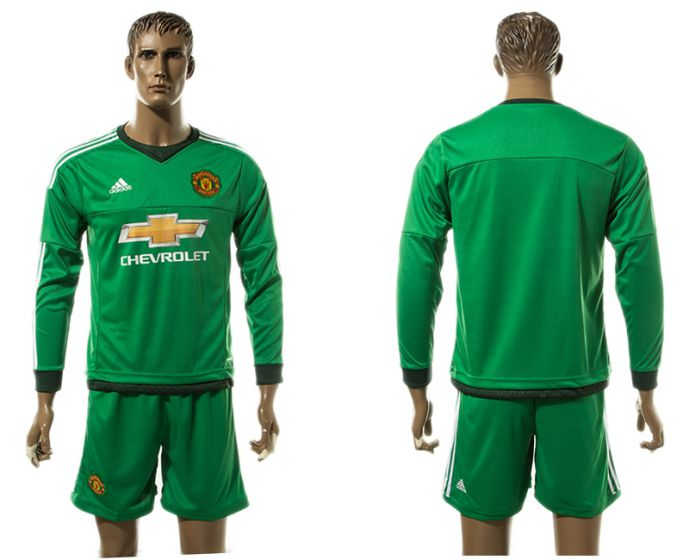 Men 2017-2018 club Manchester United green long sleeve goalkeeper blank s Soccer jersey