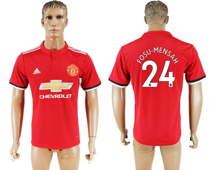 Men 2017-2018 club Manchester United home aaa version 24 red soccer jersey