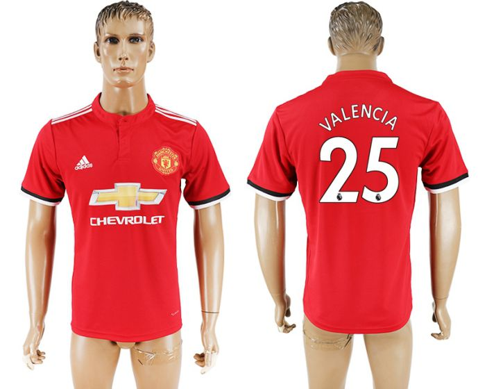 Men 2017-2018 club Manchester United home aaa version 25 red soccer jersey