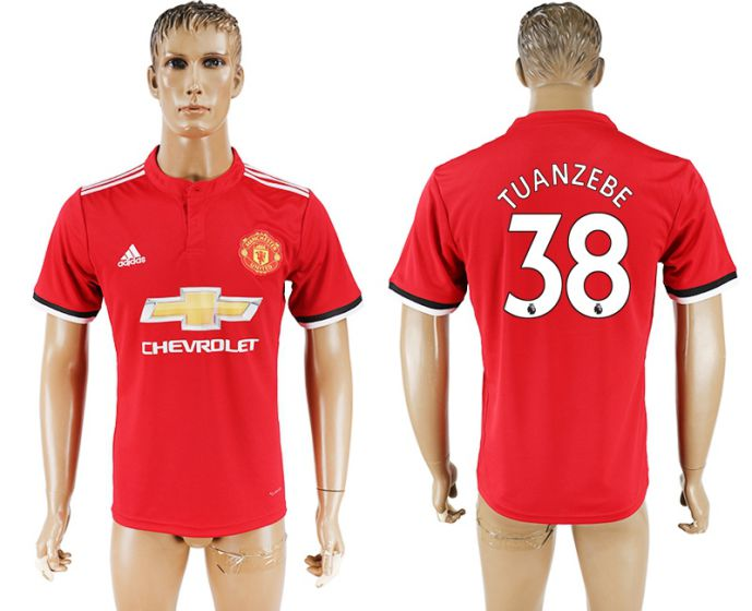 Men 2017-2018 club Manchester United home aaa version 38 red soccer jersey