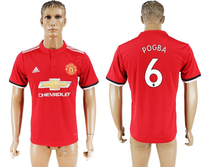 Men 2017-2018 club Manchester United home aaa version 6 red soccer jersey