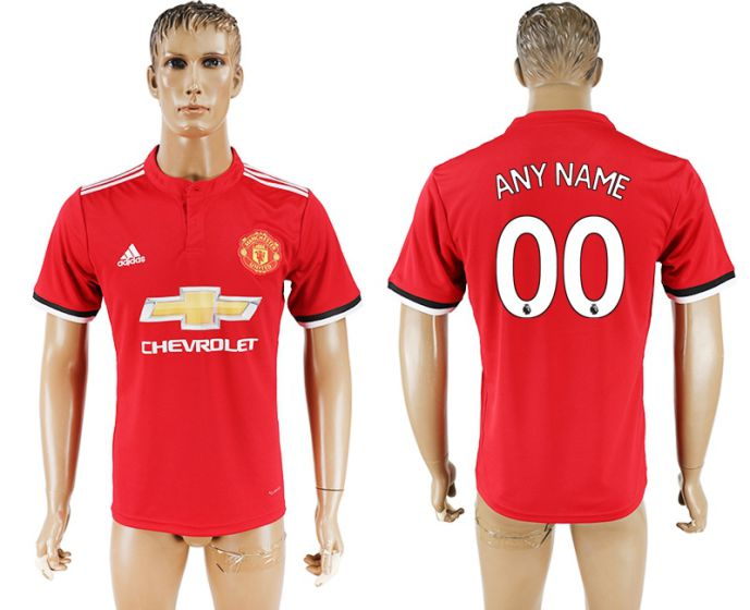 Men 2017-2018 club Manchester United home aaa version customized red soccer jersey