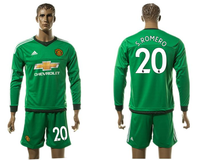 Men 2017-2018 club Manchester United long sleeve goalkeeper 20 S ROMERO Soccer jersey