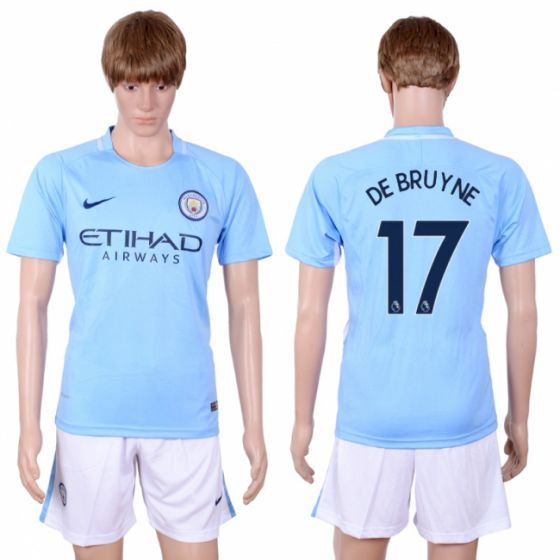 Men 2017-2018 club Manchester city away 17 Light blue soccer jersey