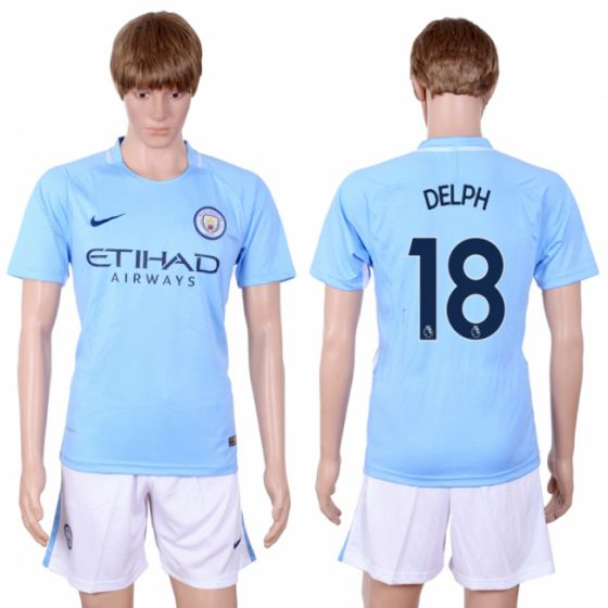 Men 2017-2018 club Manchester city away 18 Light blue soccer jersey