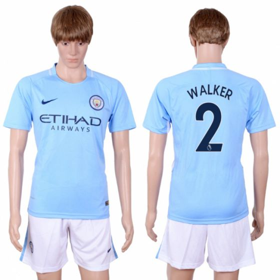 Men 2017-2018 club Manchester city away 2 Light blue soccer jersey