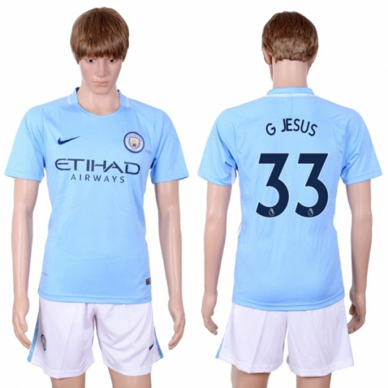 Men 2017-2018 club Manchester city away 33 Light blue soccer jersey