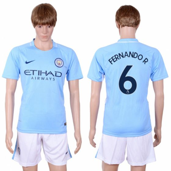 Men 2017-2018 club Manchester city away 6 Light blue soccer jersey