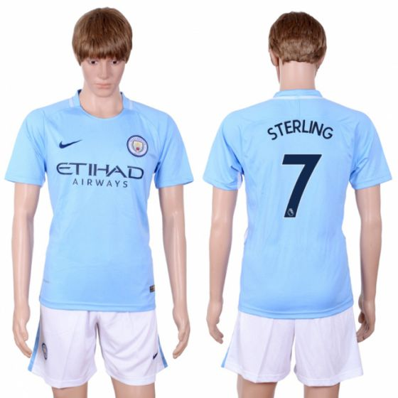 Men 2017-2018 club Manchester city away 7 Light blue soccer jersey