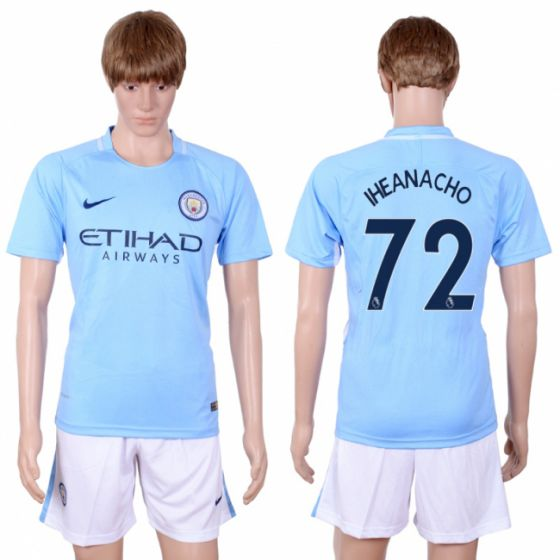 Men 2017-2018 club Manchester city away 72 Light blue soccer jersey