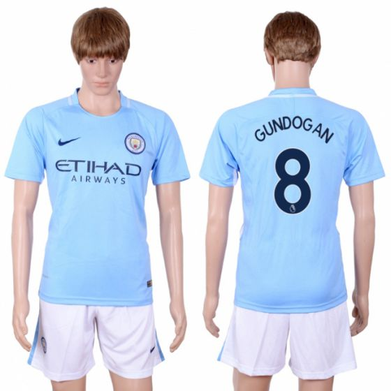 Men 2017-2018 club Manchester city away 8 Light blue soccer jersey