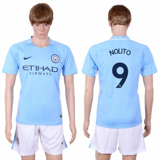 Men 2017-2018 club Manchester city away 9 Light blue soccer jersey