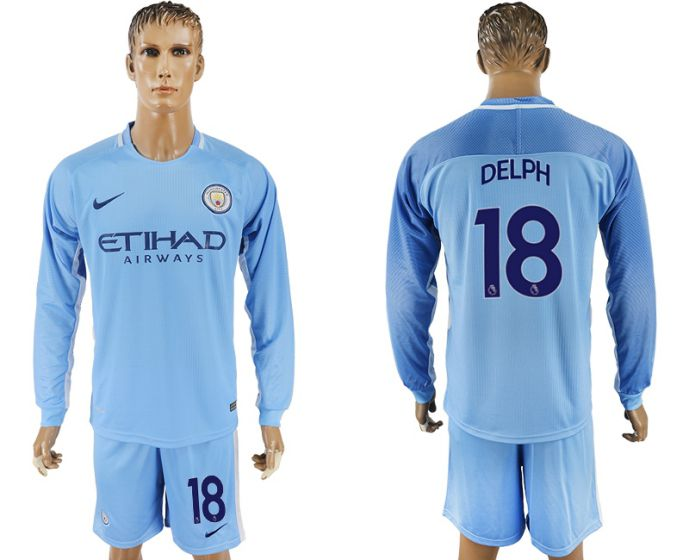 Men 2017-2018 club Manchester city away long sleeve 18 soccer jersey