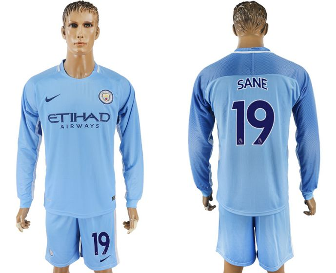Men 2017-2018 club Manchester city away long sleeve 19 soccer jersey
