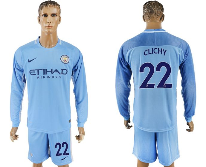 Men 2017-2018 club Manchester city away long sleeve 22 soccer jersey
