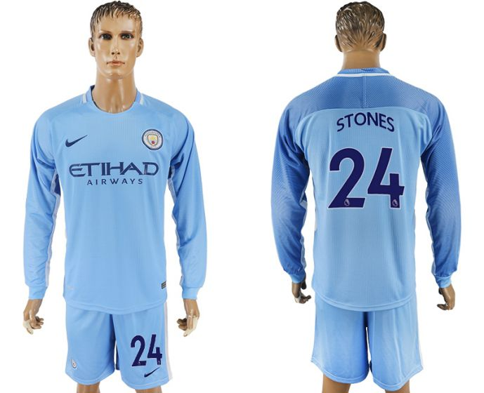 Men 2017-2018 club Manchester city away long sleeve 24 soccer jersey