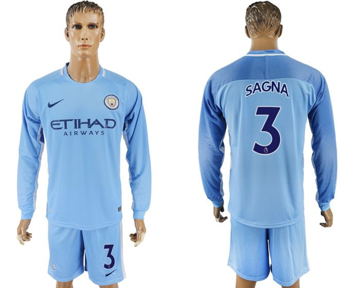 Men 2017-2018 club Manchester city away long sleeve 3 soccer jersey