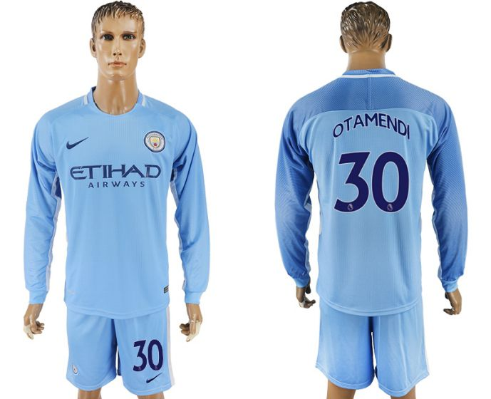 Men 2017-2018 club Manchester city away long sleeve 30 soccer jersey