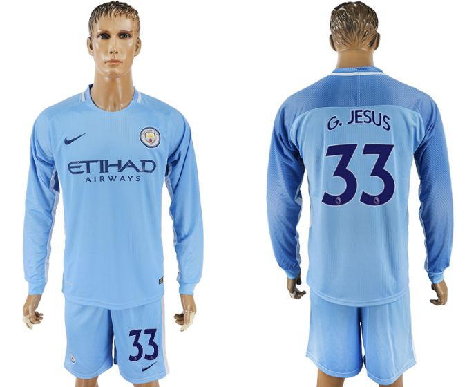 Men 2017-2018 club Manchester city away long sleeve 33 soccer jersey