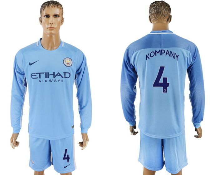 Men 2017-2018 club Manchester city away long sleeve 4 soccer jersey