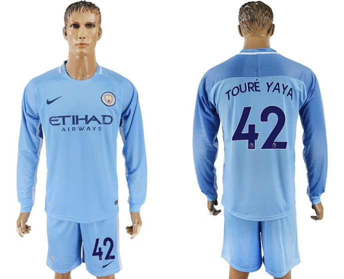 Men 2017-2018 club Manchester city away long sleeve 42 soccer jersey
