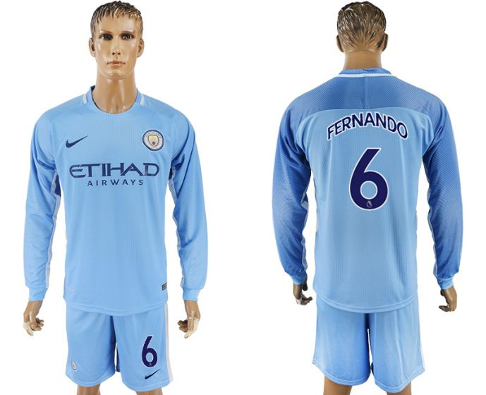 Men 2017-2018 club Manchester city away long sleeve 6 soccer jersey