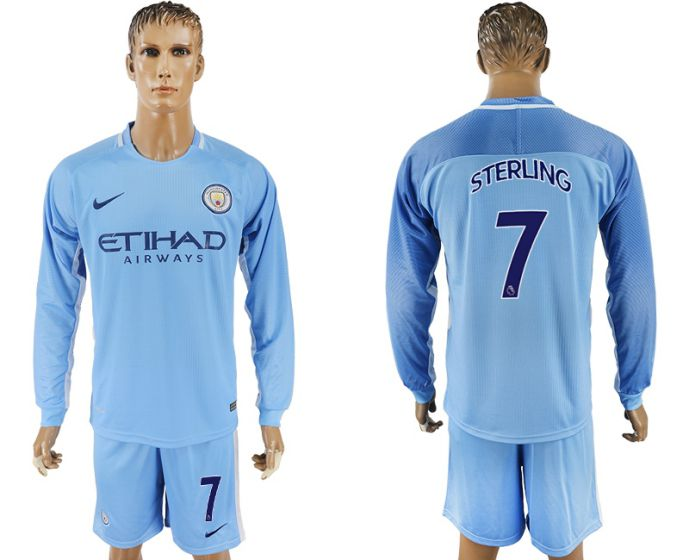 Men 2017-2018 club Manchester city away long sleeve 7 soccer jersey