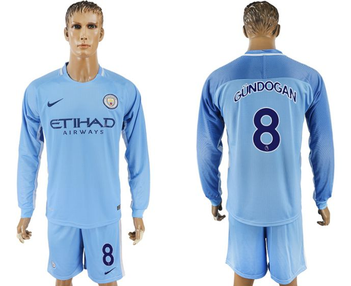Men 2017-2018 club Manchester city away long sleeve 8 soccer jersey