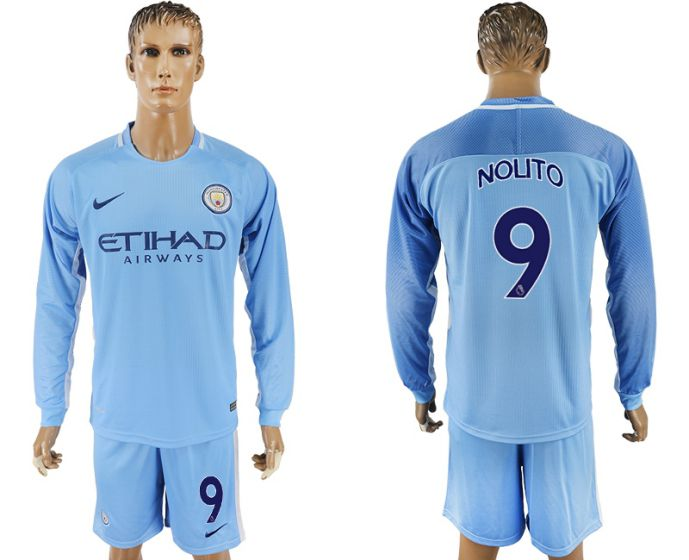 Men 2017-2018 club Manchester city away long sleeve 9 soccer jersey