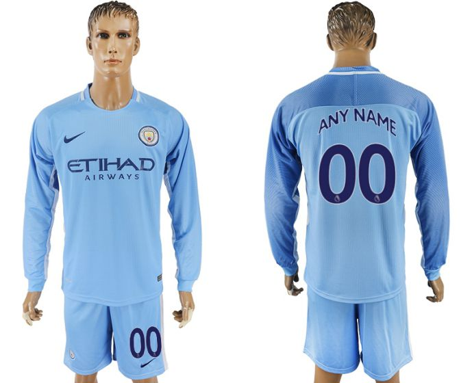 Men 2017-2018 club Manchester city away long sleeve customized soccer jersey