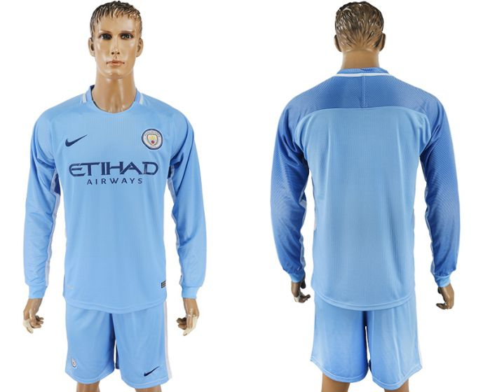 Men 2017-2018 club Manchester city away long sleeve soccer jersey