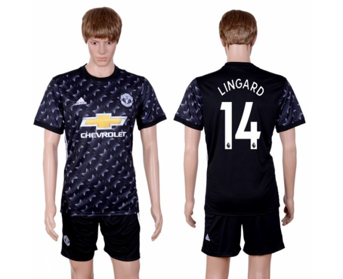 Men 2017-2018 club Manchester united away 14 black soccer jersey