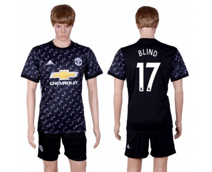 Men 2017-2018 club Manchester united away 17 black soccer jersey