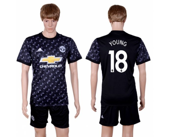 Men 2017-2018 club Manchester united away 18 black soccer jersey