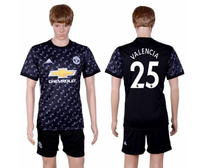 Men 2017-2018 club Manchester united away 25 black soccer jersey