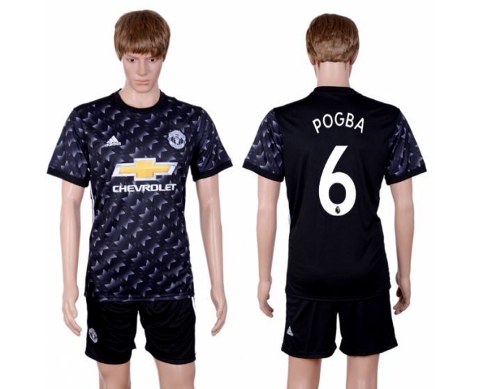 Hommes 2017-2018 club Manchester united away 6 maillot de football noir