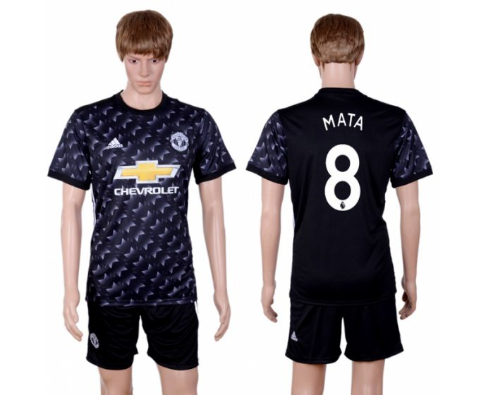 Men 2017-2018 club Manchester united away 8 black soccer jersey