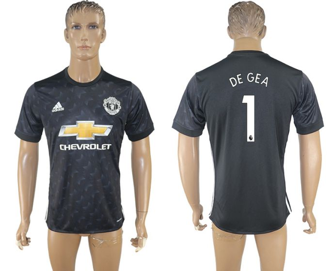 Men 2017-2018 club Manchester united away aaa version 1 black soccer jersey